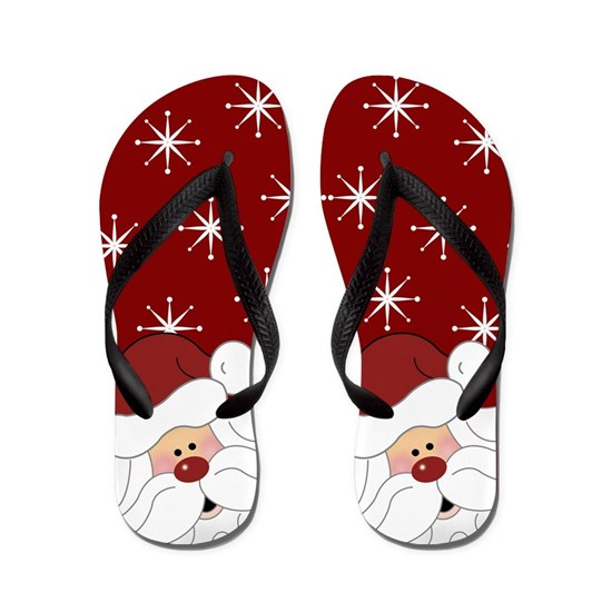 Santa Claus Holiday Christmas Flip Flops