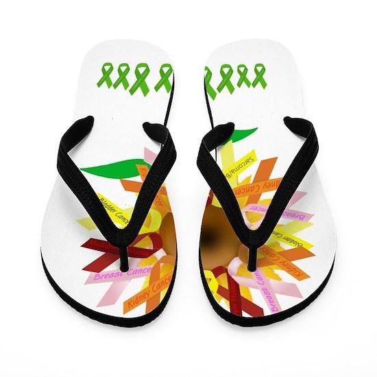 71f0cc427 Cancer Ribbon Sunflower Flip Flops by Cwazy Wady s Designs - CafePress