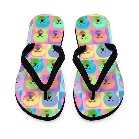 1d28a3be146669 Op Art Bichon Flip Flops by SayWoofPetography - CafePress