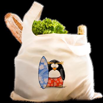 Surfing Macaroni Penguin Reusable Shopping Bag Surfing Macaroni