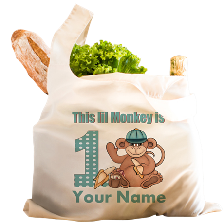 First Birthday Monkey Reusable Shopping Bag