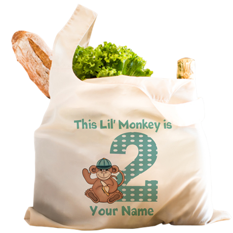 2nd Birthday Monkey Reusable Shopping Bag