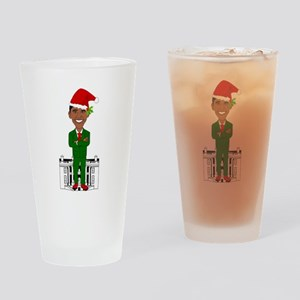 barack obama santa claus Drinking Glass