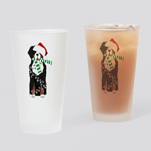 Christmas Bernese Mt Holiday Dog Drinking Glass