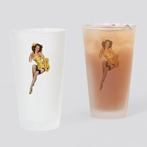 Yellow Pin Up Drinking Glass