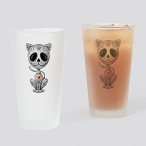 Gray Zombie Sugar Skull Kitten Drinking Glass