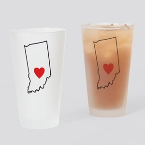 I Heart Indiana State Outline Drinking Glass