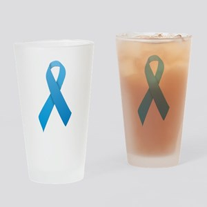 Light Blue Ribbon Drinking Glass