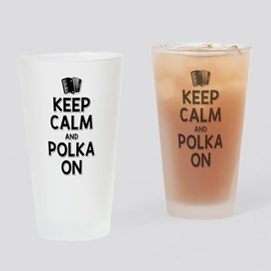 Keep Calm Polka Drinking Glass