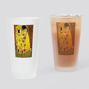 The Kiss, Klimt, Vintage Painting Drinking Glass