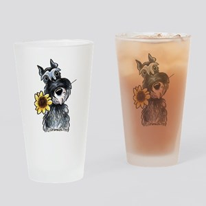 Sunflower Schnauzer Drinking Glass