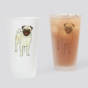 Happy Pug Drinking Glass