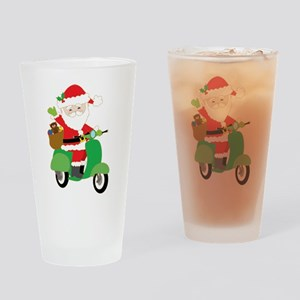 Santa on a Scooter Drinking Glass