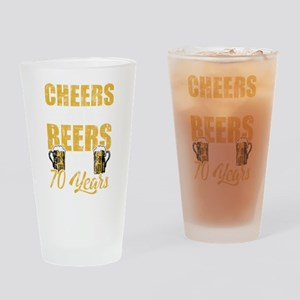 Cheers and Beers 70th Birthday Gift Drinking Glass