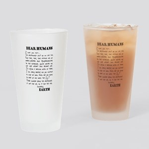 Letter to Humans from Earth Drinking Glass