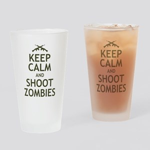 Keep Calm and Shoot Zombies Drinking Glass