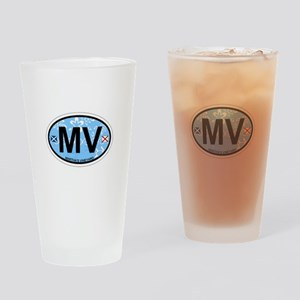 Martha's Vineyard MA - Oval Design. Drinking Glass