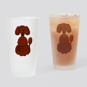 Brown Poodle Drinking Glass