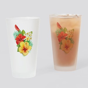 Tropical Hibiscus Drinking Glass