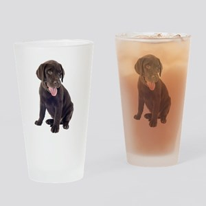 Chocolate, Lab, puppy Drinking Glass