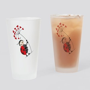 ladybug with heart tree Drinking Glass