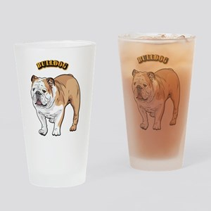 bulldog with text Drinking Glass