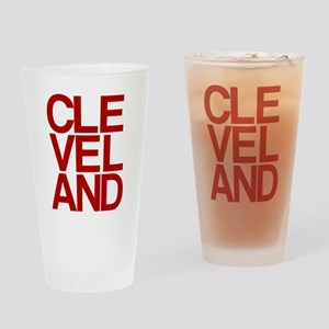 Cleveland Red Bold Typographic Drinking Glass