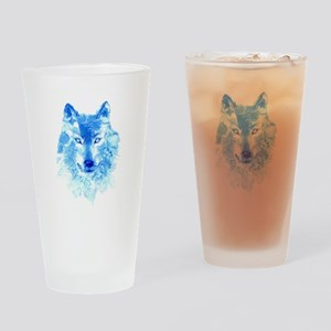 Watercolor Winter Wolf Drinking Glass
