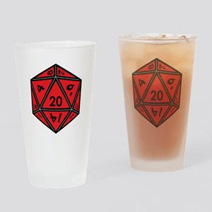 D20 Red Drinking Glass
