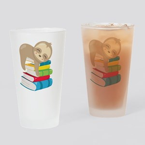 Cute Sloth Books Drinking Glass