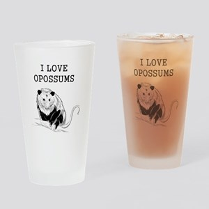 I Love Opossums Drinking Glass