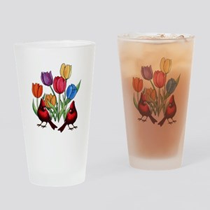 Tulips and Cardinals Drinking Glass