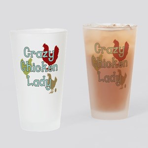 Crazy Chicken Lady Drinking Glass