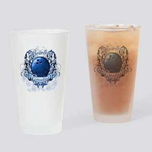 BowlingGrandma (blue) Drinking Glass