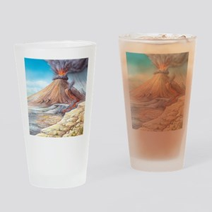 Volcano erupting, artwork Drinking Glass
