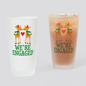 Christmas Engagement Engaged Drinking Glass