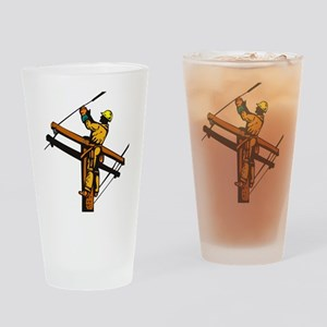 power lineman repairman Drinking Glass