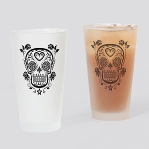 Black Sugar Skull with Roses Drinking Glass