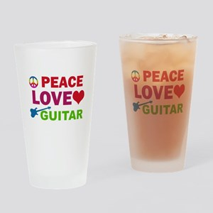 Peace Love Guitar Drinking Glass