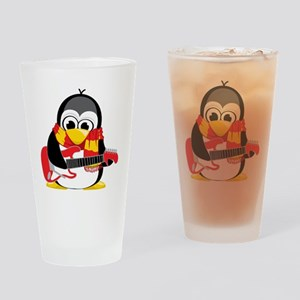 Electric-Guitar-Penguin-Scarf Drinking Glass