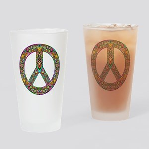 Peace Symbol Psychedelic Art Design Drinking Glass