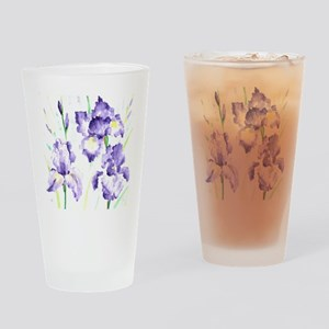 Watercolor Abstract Iris Pattern Drinking Glass