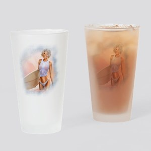 Sexy Surfer Girl Drinking Glass