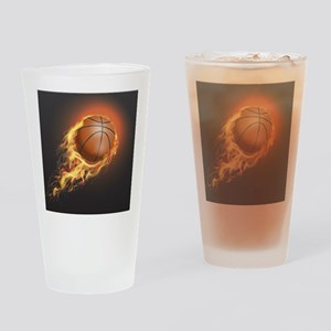 Flaming Basketball Drinking Glass