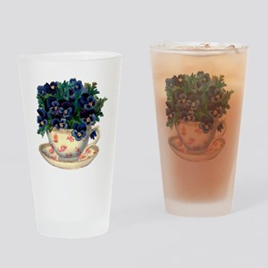 Teacup Flowers Drinking Glass