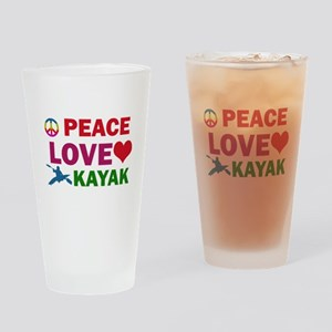 Peace Love Kayak Designs Drinking Glass