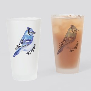 Original Watercolor Blue Jay Drinking Glass
