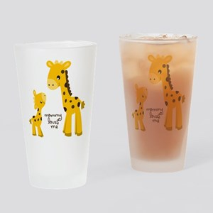 Mother and child Giraffe Drinking Glass
