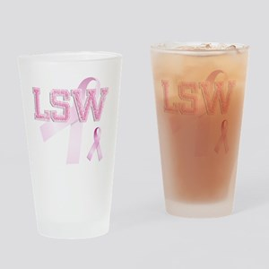 LSW initials, Pink Ribbon, Drinking Glass