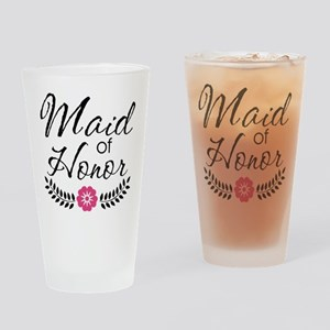 Cute Pink Maid of Honor Drinking Glass